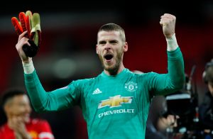 Manchester United's David de Gea celebrates at the end of the match.