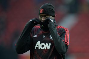 Manchester United's Romelu Lukaku during the warm up before the match.