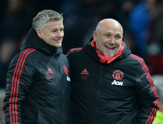 MUFC interim manager Ole Gunnar Solskjaer celebrates after the match with assistant manager Mike Phelan.