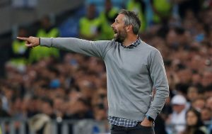 RB Salzburg coach Marco Rose gestures.