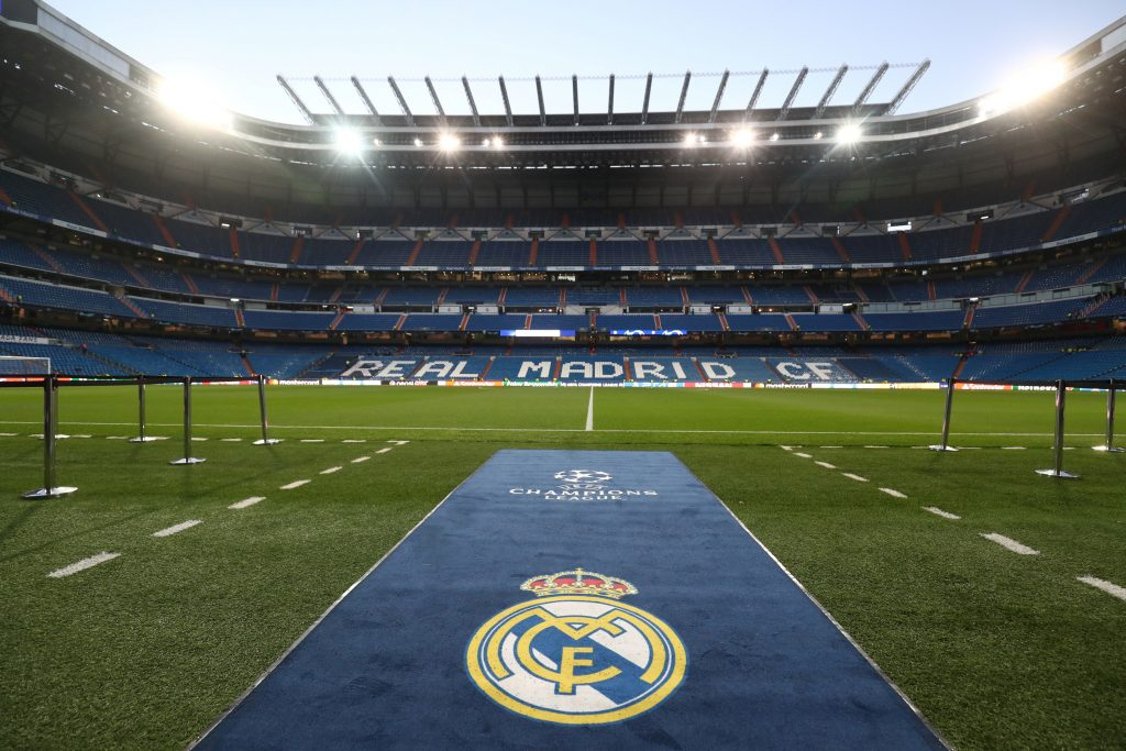 General view inside the Real Madrid stadium before the match.
