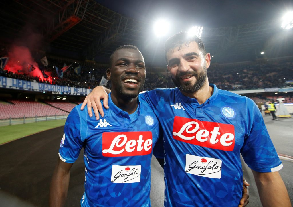Napoli's Kalidou Koulibaly with Raul Albiol after the match.