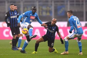 Inter Milan's Joao Mario in action with Napoli's Kalidou Koulibaly.