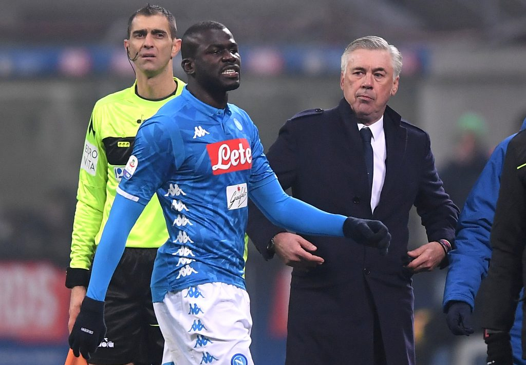 Napoli's Kalidou Koulibaly with Napoli coach Carlo Ancelotti after being sent off.