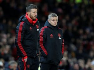 Manchester United interim manager Ole Gunnar Solskjaer with assistant coach Michael Carrick.