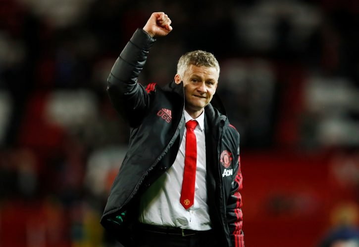Man Utd interim manager Ole Gunnar Solskjaer celebrates after the match.