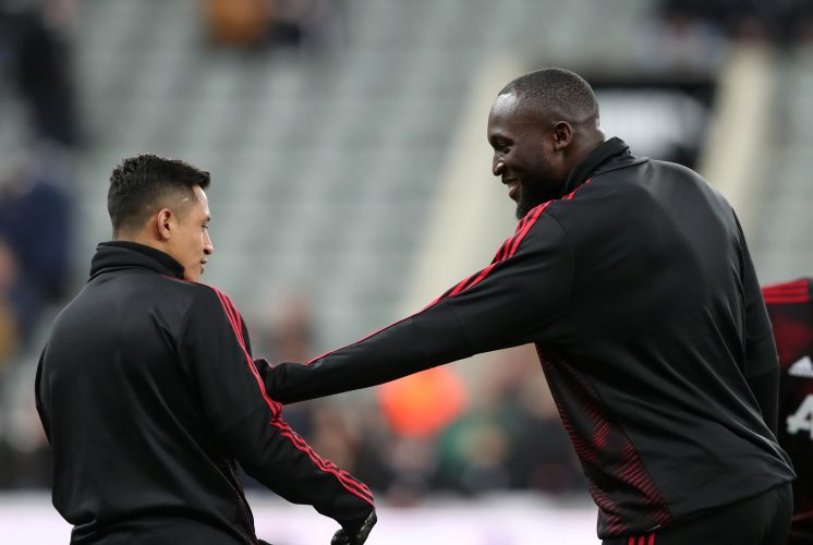 Romelu Lukaku and Alexis Sanchez during the warm up before the match.