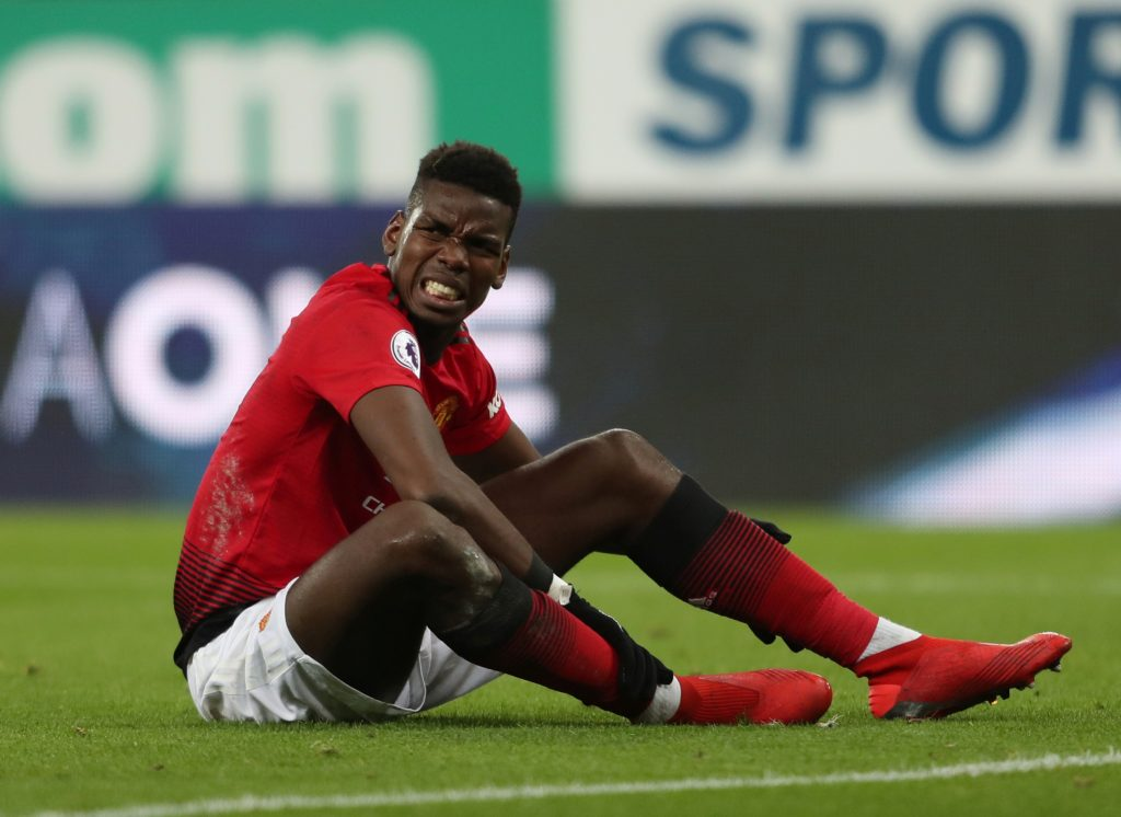 Manchester United's Paul Pogba reacts.
