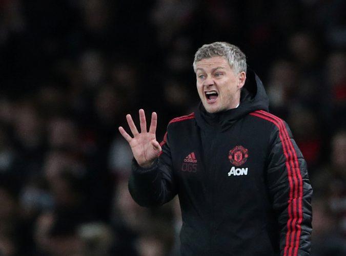 Manchester United manager Ole Gunnar Solskjaer gestures.