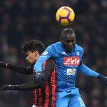 Napoli's Kalidou Koulibaly in action with AC Milan's Lucas Paqueta.