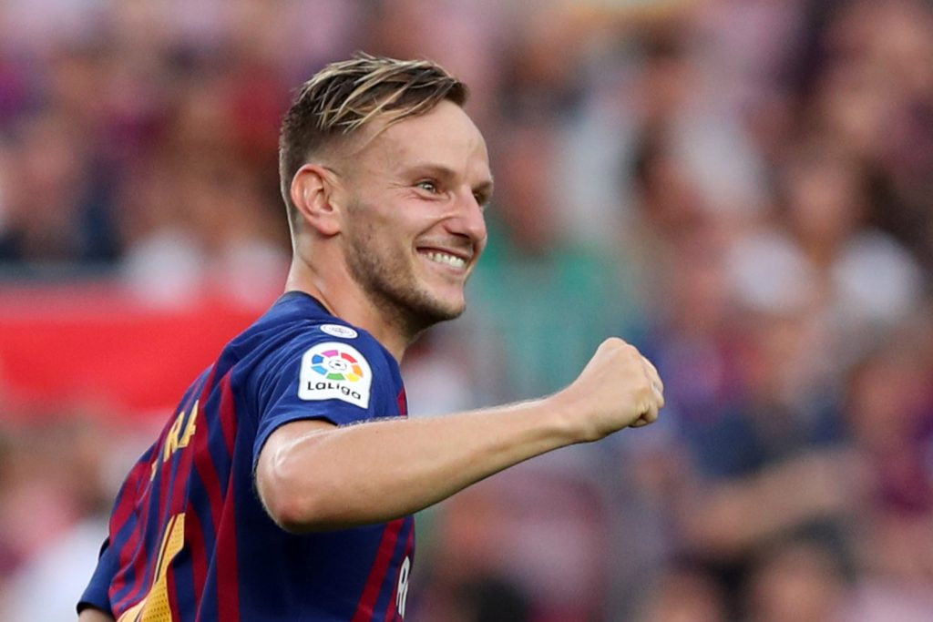 Barcelona's Ivan Rakitic celebrates scoring their fifth goal.