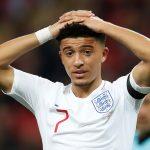England's Jadon Sancho reacts.
