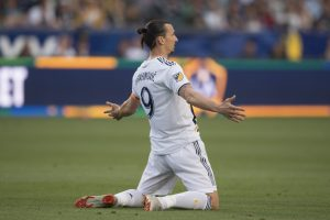 LA Galaxy forward Zlatan Ibrahimovic (9) reacts during the first half against the Portland Timbers.