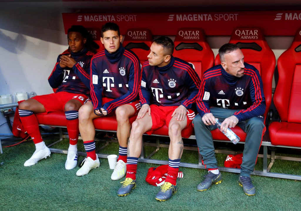 Bayern Munich's James Rodriguez on the bench during the match.