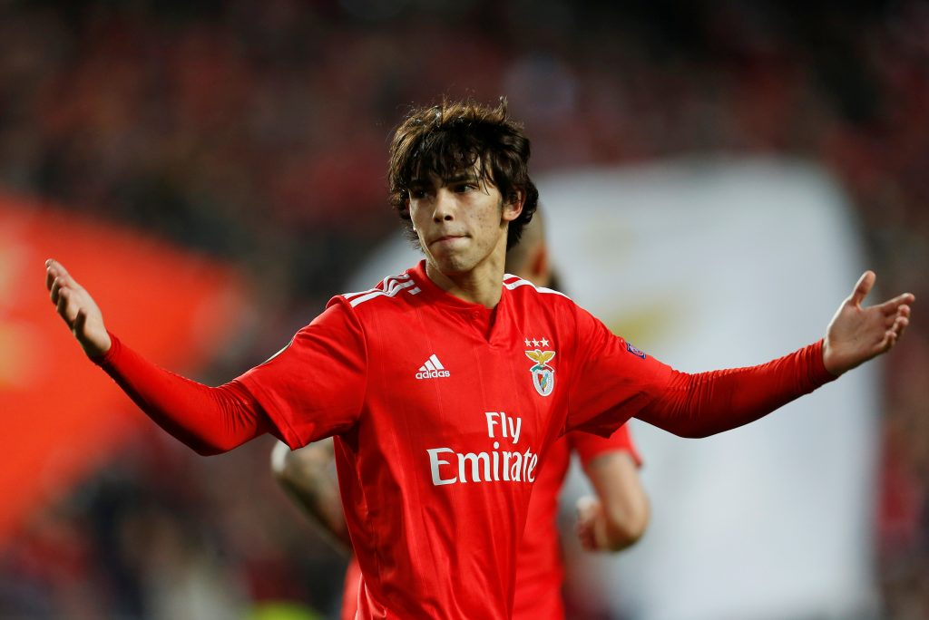 Benfica's Joao Felix celebrates scoring their first goal.