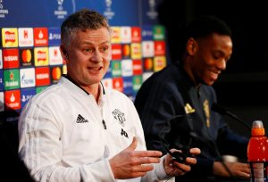 MUFC manager Ole Gunnar Solskjaer and Anthony Martial during the press conference.