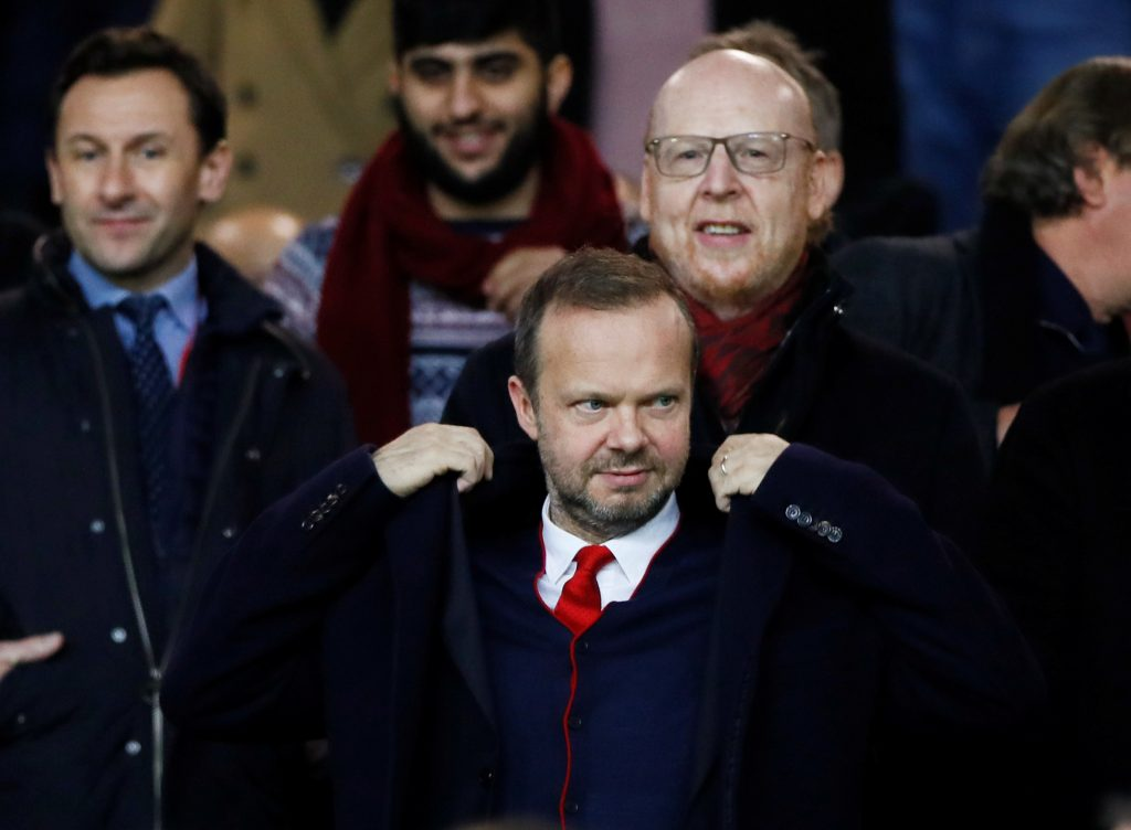 Manchester United executive vice-chairman Ed Woodward and co owner Avram Glazer in the stands before the match.