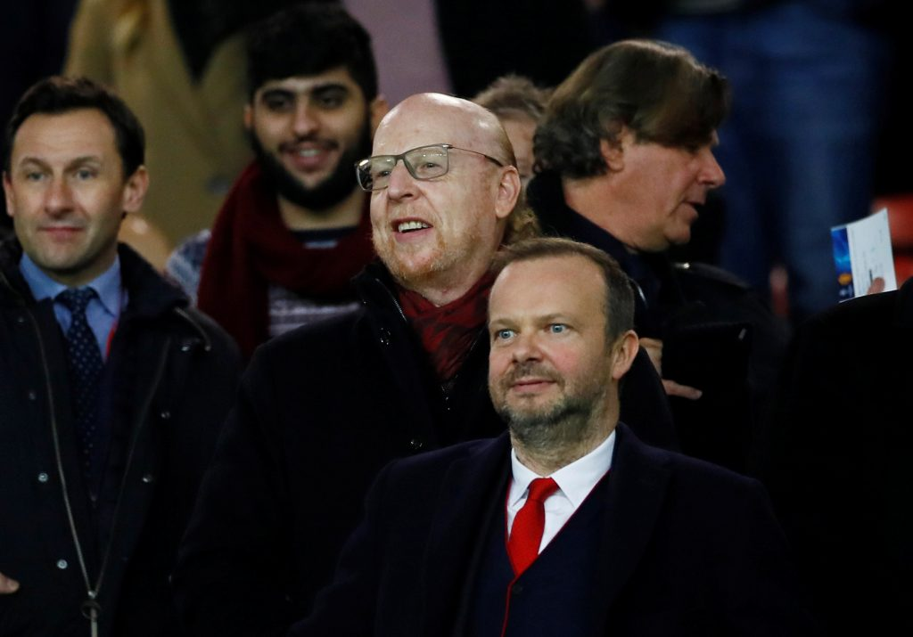 Manchester United co owner Avram Glazer and executive vice-chairman Ed Woodward in the stands before the match.