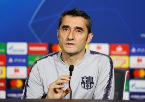 Barcelona coach Ernesto Valverde during the press conference.