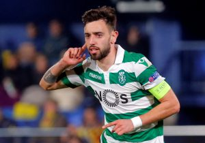 Sporting's Bruno Fernandes celebrates scoring their first goal.
