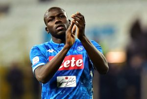Napoli's Kalidou Koulibaly applauds fans after the match.