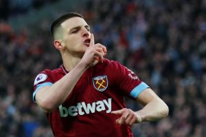 West Ham's Declan Rice celebrates scoring their first goal.