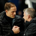 PSG coach Thomas Tuchel shakes hands with MUFC manager Ole Gunnar Solskjaer before the match.