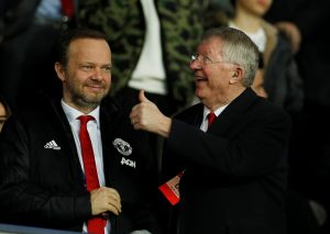 MUFC executive vice-chairman Ed Woodward and Sir Alex Ferguson in the stadium before the match.