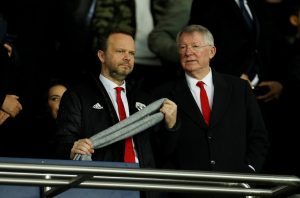 Man Utd executive vice-chairman Ed Woodward and Sir Alex Ferguson in the stadium before the match.