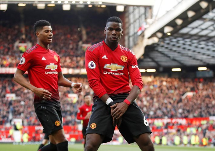 Manchester United's Paul Pogba celebrates scoring their second goal with Marcus Rashford.