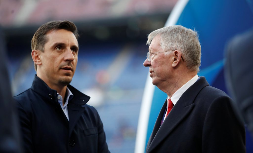 Sir Alex Ferguson and Gary Neville before the match.