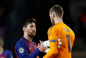 Barcelona's Lionel Messi and Manchester United's David de Gea.