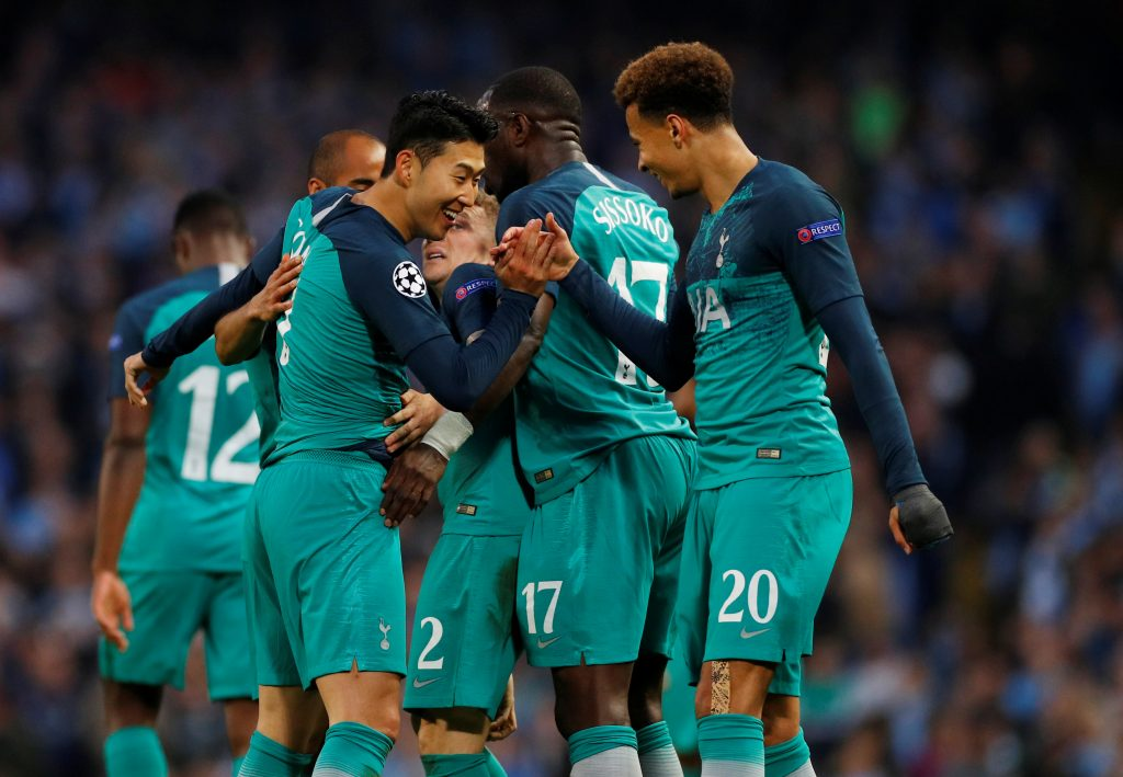 Soccer Football - Champions League Quarter Final Second Leg - Manchester City v Tottenham Hotspur - Etihad Stadium, Manchester, Britain - April 17, 2019  Tottenham's Son Heung-min celebrates scoring their second goal with Dele Alli     REUTERS/Phil Noble - RC1DF5F19780