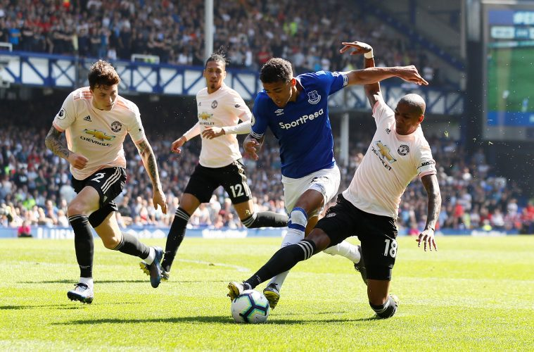 Everton's Dominic Calvert-Lewin in action with Manchester United's Ashley Young.