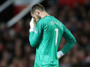 Manchester United's David de Gea reacts.