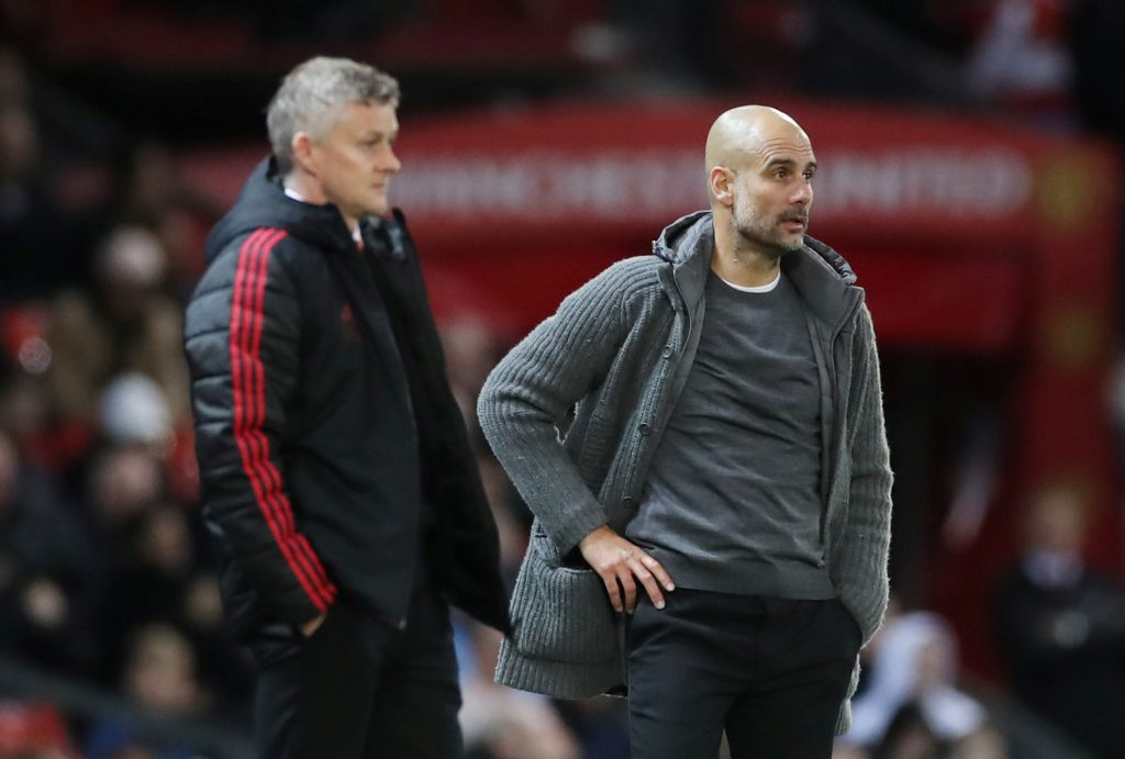 Man City manager Pep Guardiola and Man Utd manager Ole Gunnar Solskjaer.