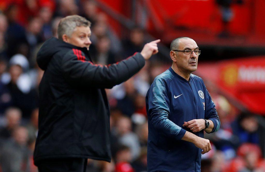 Man Utd manager Ole Gunnar Solskjaer and Chelsea manager Maurizio Sarri.