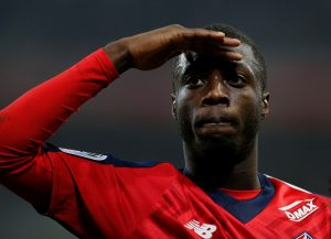 Lille's Nicolas Pepe celebrates scoring their second goal.