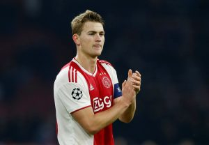 Ajax's Matthijs de Ligt looks dejected after the match.