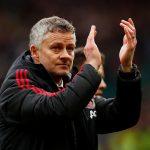 Manchester United manager Ole Gunnar Solskjaer applauds fans after the match.