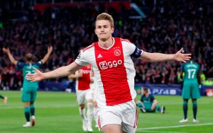 Ajax's Matthijs de Ligt celebrates scoring their first goal.
