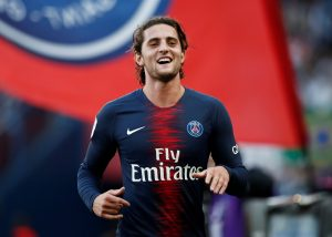 PSG's Adrien Rabiot celebrates scoring their second goal.