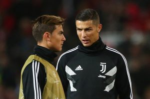 Cristiano Ronaldo and Paulo Dybala during the warm up before the match.