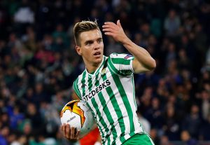 Real Betis' Giovani Lo Celso celebrates scoring their first goal.