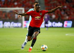 Manchester United's Aaron Wan-Bissaka in action.