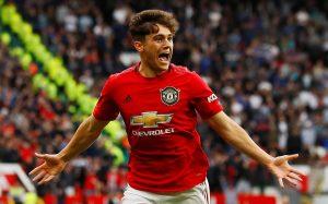 Manchester United's Daniel James celebrates scoring their fourth goal.
