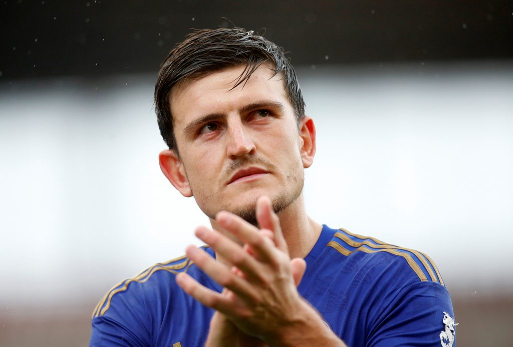 Leicester City's Harry Maguire applauds fans after the match.