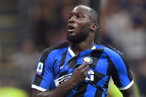 Inter Milan's Romelu Lukaku celebrates scoring their third goal.