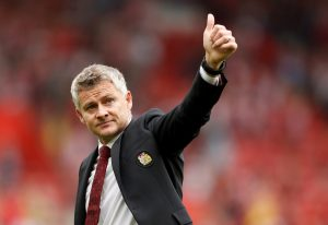 Manchester United manager Ole Gunnar Solskjaer gestures after the match.