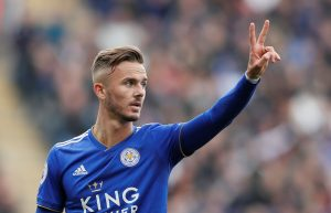 Leicester City's James Maddison gestures.